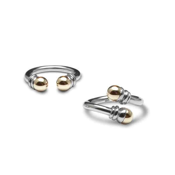 Silver and gold bead and cup rings
