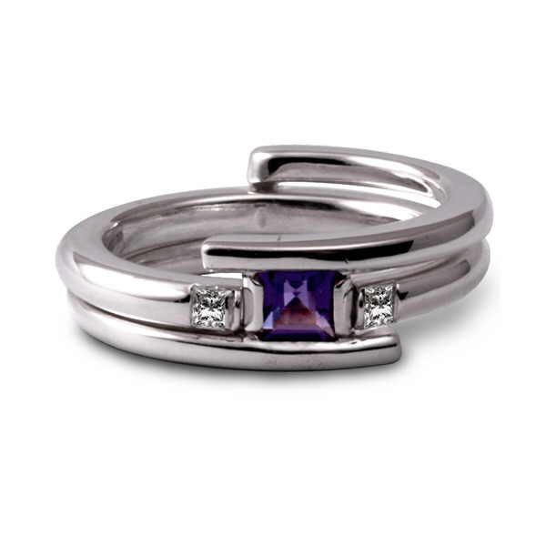double ring set with amethyst