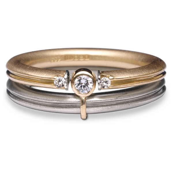 Aquilla ring set in 18ct yellow and white gold with diamonds