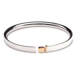Belt bangle in silver with gold detail