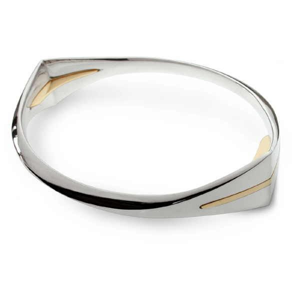 unusual bangle in silver and gold