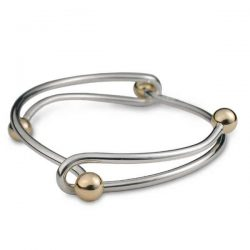 Interlink bangle in silver with gold beads