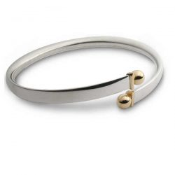 Bead-torque bangle in silver with gold beads