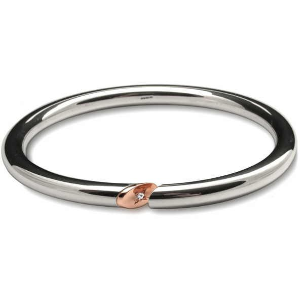Bangle with rose gold and diamond