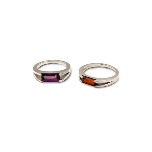 Silver baguette rings