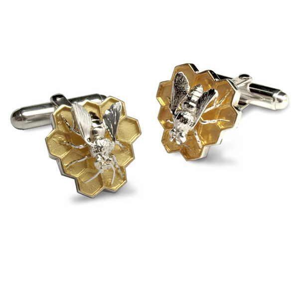 Silver bee cufflinks