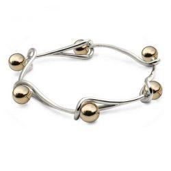 Goldilocks interlink bracelet in silver with gold beads