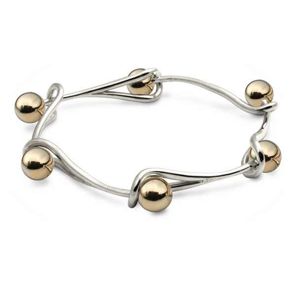 Goldilocks interlink bracelet in silver with gold beads