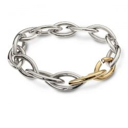 Heavy marquise link bracelet in silver and gold