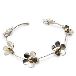 Daisy chain bracelet in silver and gold