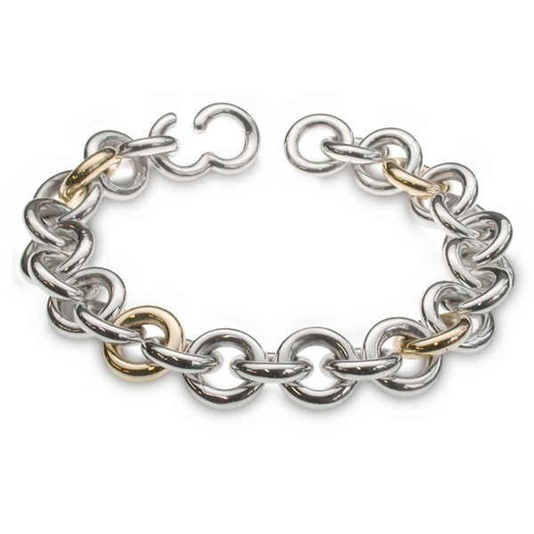 Heavy silver and gold ring bracelet
