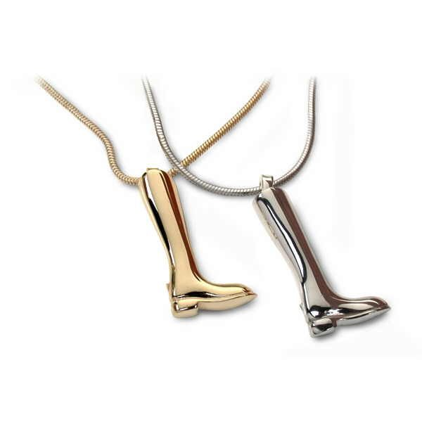 riding boot pendants in silver and gold