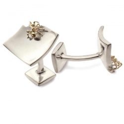 nibbling ant cufflinks in silver and gold