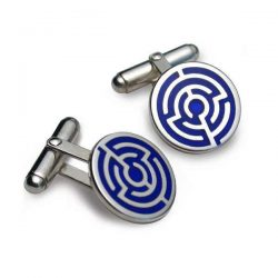 silver maze cufflinks with enamel