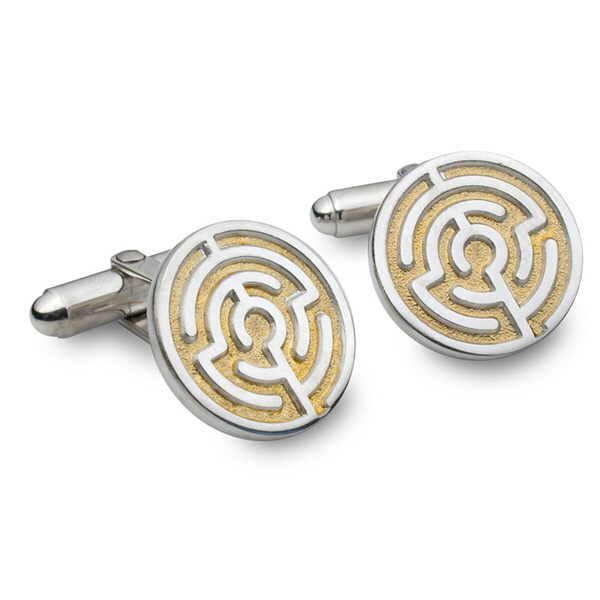 Silver and gold maze cufflinks