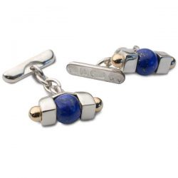 Lapis bead cufflinks in silver and gold