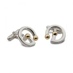 G shaped cufflinks in silver and gold