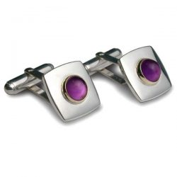 Gem set square cufflinks in silver and gold