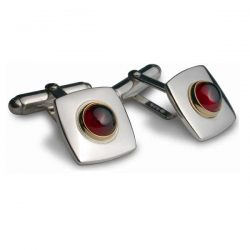 Garnet set square cufflinks in silver and gold