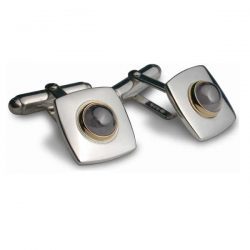hematite set square cufflinks in silver and gold