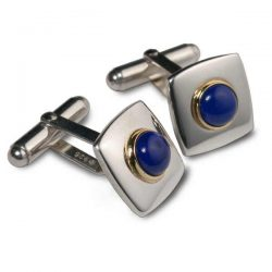 lapis set square cufflinks in silver and gold