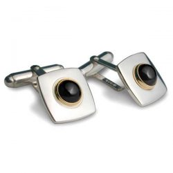 Onyx set square cufflinks in silver and gold