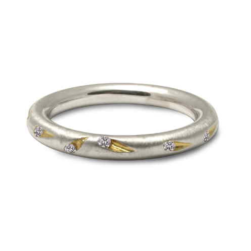 Unusual Comet ring in silver and diamonds