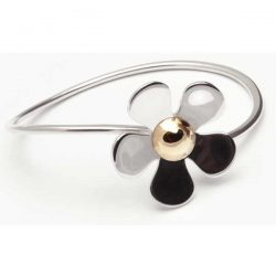 Silver daisy bangle with gold detail