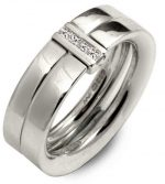 Diamond channel ring in silver