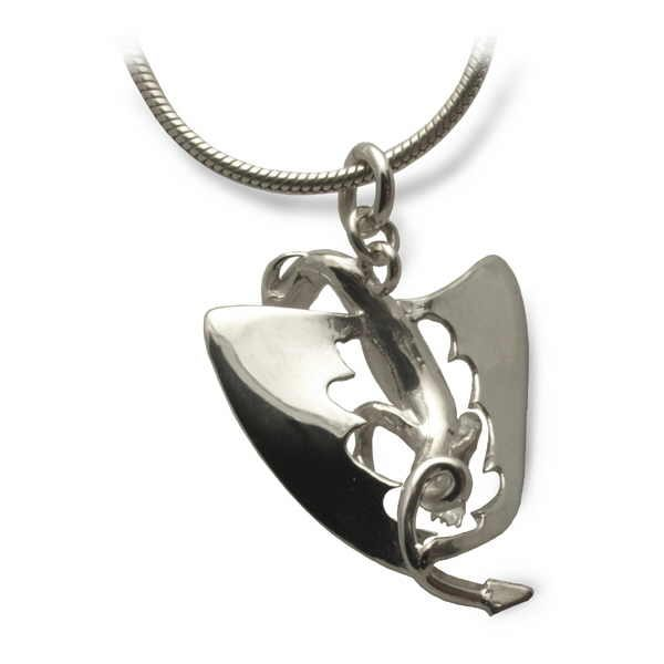 Dragon pendant in silver back view