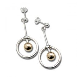 Spin earrings in silver and gold