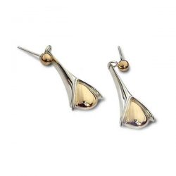 Gold bud earrings in silver and gold