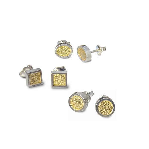 Silver and 18ct gold earring studs