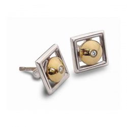 Diamond window earrings in silver and gold
