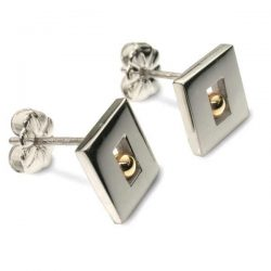 Bead window earring studs in silver and gold