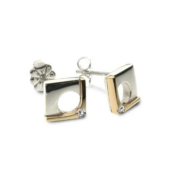 Diamond corner earrings