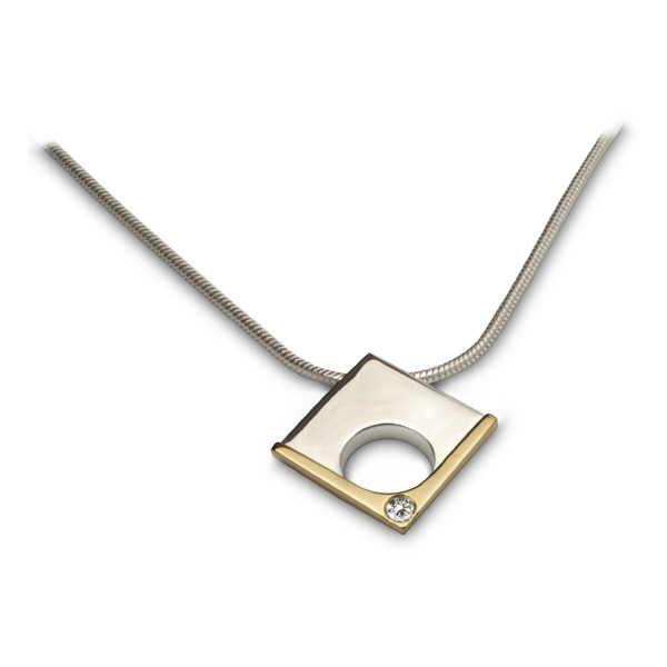 Diamond corner pendant in silver and gold