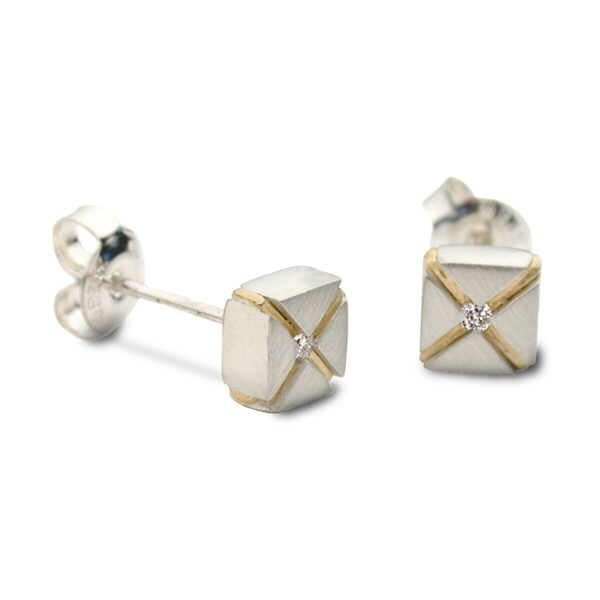 Diamond kiss earrings in silver and 18ct gold