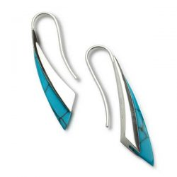 Fluidity earrings in turquoise and silver