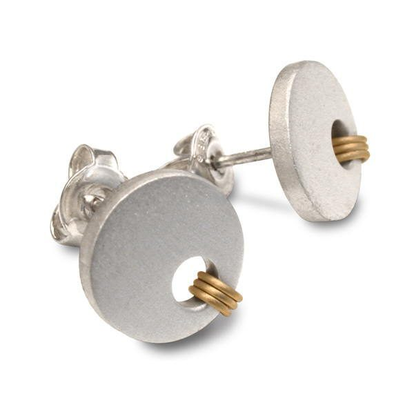 Gold coil earring studs