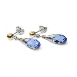 Swarovski stud earrings in silver and gold