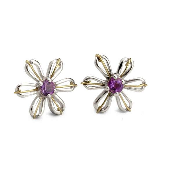 Gem set flower earrings