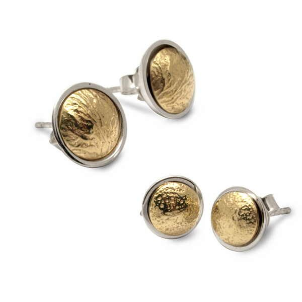 Silver and gold reticulated studs