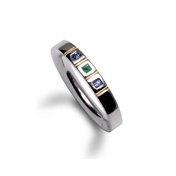 Gem squares ring with tanzanite and emerald