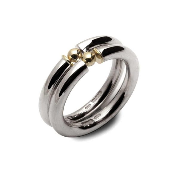 two part silver and gold engage ring