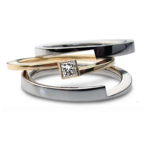 Europa ring set with princess diamond