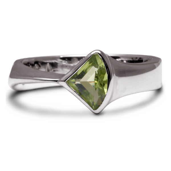Silver and peridot fan ring