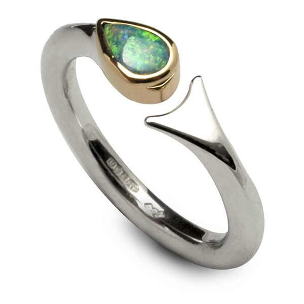 Unusual opal fishtail ring in silver and gold