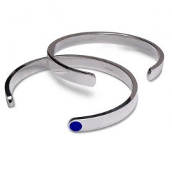 Gent's silver cuff bangles with lapis lazuli