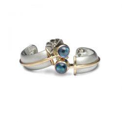 blue topaz set hoop earrings